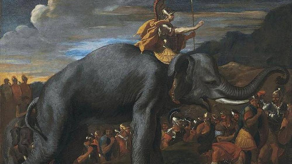 El cuadro de Nicolás Poussin que fuese subastado por Christie's en 2013 muestra a Aníbal camino a Roma.