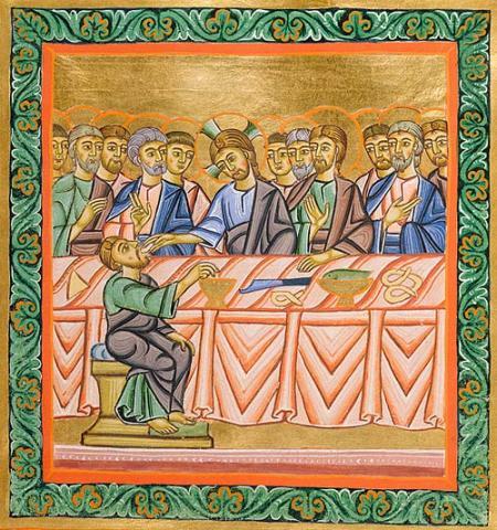 ¿Un pretzel en la Última Cena? Pues sí: en más de un manuscrito iluminado se les consigue.  Este es el folio 80 del Leccionario de la Abadía de San Pedro, en Salzburgo.