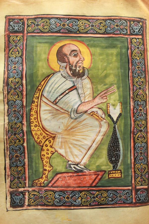 Estos evangelios llevan el nombre de Abba Garima, un monje que llegó a Etiopía en el 494, desde Constantinopla. La leyenda cuenta que Abba Garima copió e ilustró estos evangelios en un solo día. En la imagen, San Marcos Evangelista.