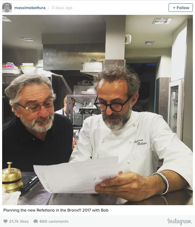 El chef enfilará sus nuevos esfuerzos hacia el Bronx para trabajar en una nueva empresa: el Refettorio Ambrosiano, un comedor de beneficencia, que abrirá junto a Robert DeNiro y el Consulado de Italia en New York.