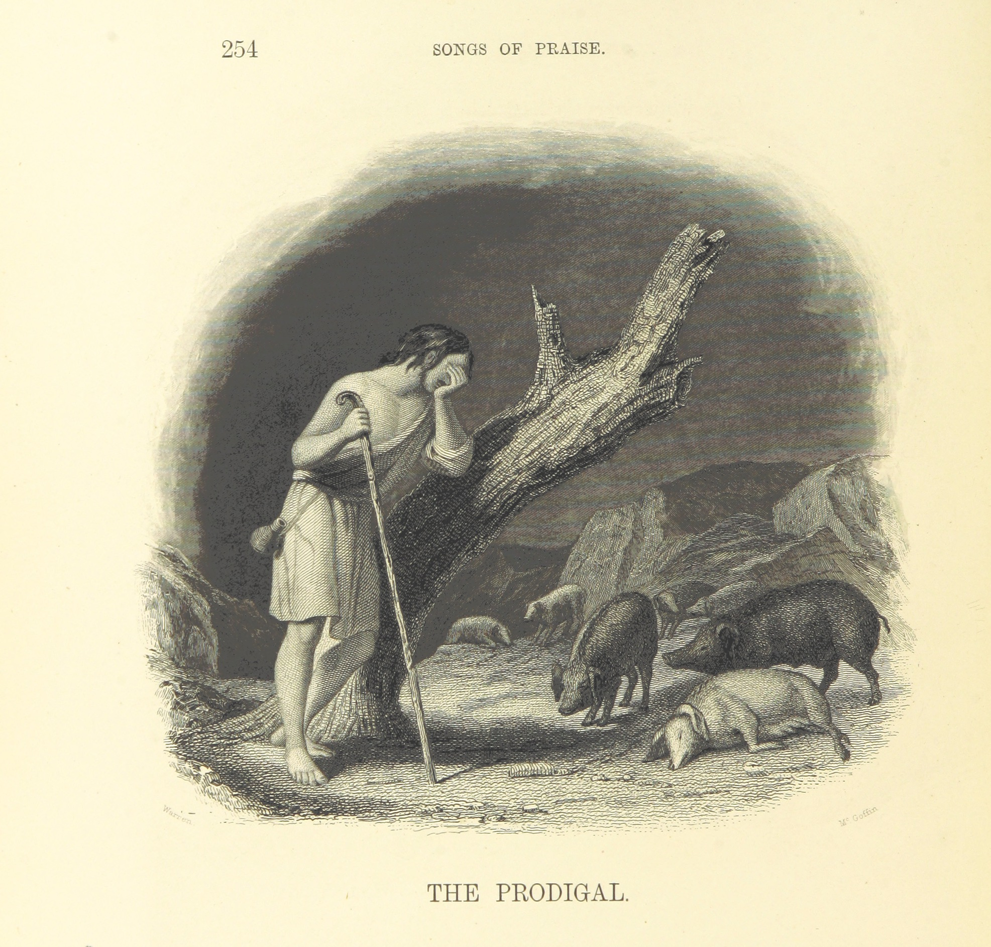 Grabado con la imagen del hijo pródigo, incluido en la página 260 del libro Canciones de Alabanza y Poemas de Devoción en los Siglos Cristianos.