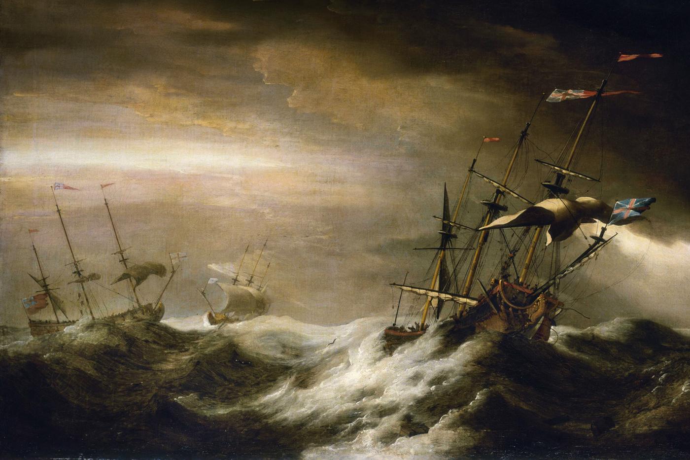 Ships at sea during storm